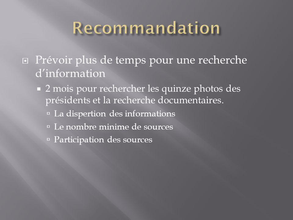  Prévoir plus de temps pour une recherche d'information  2 mois pour rechercher les quinze photos des présidents et la recherche documentaires.  La