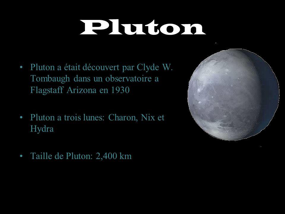Pluton Pluton a était découvert par Clyde W. Tombaugh dans un observatoire a Flagstaff Arizona en 1930 Pluton a trois lunes: Charon, Nix et Hydra Tail