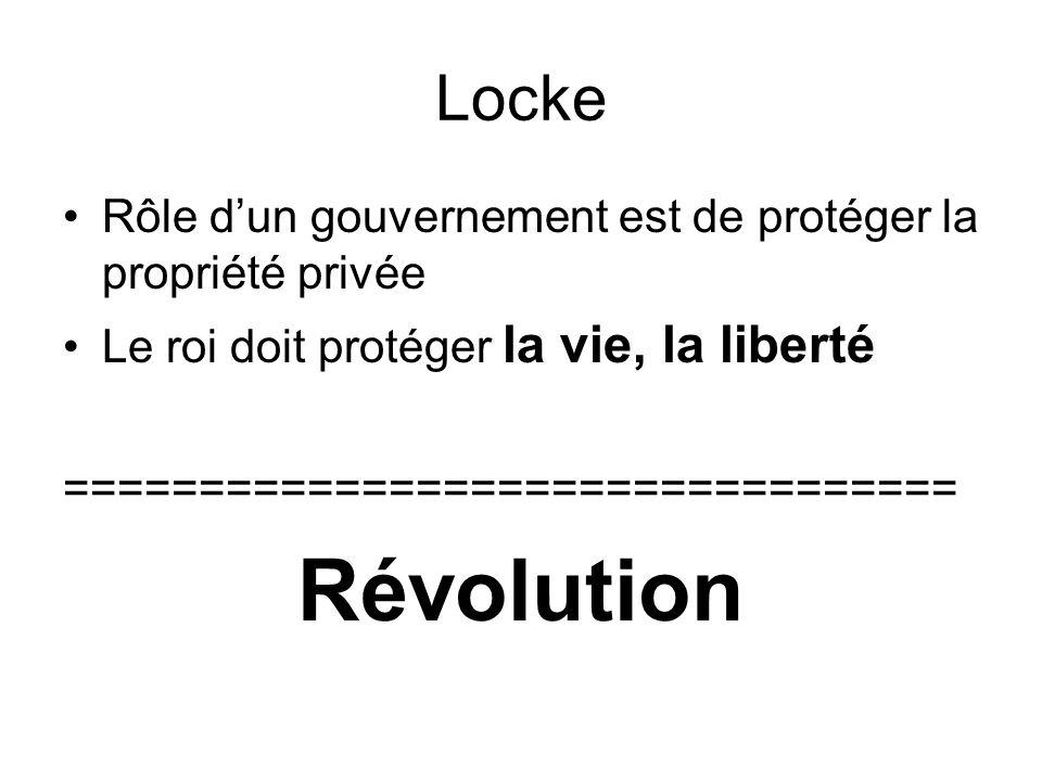 Locke Rôle d'un gouvernement est de protéger la propriété privée Le roi doit protéger la vie, la liberté ================================= Révolution