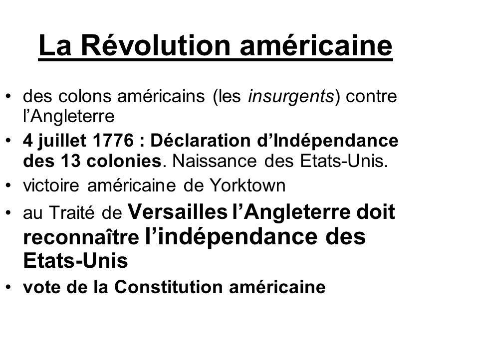 La Révolution américaine des colons américains (les insurgents) contre l'Angleterre 4 juillet 1776 : Déclaration d'Indépendance des 13 colonies. Naiss
