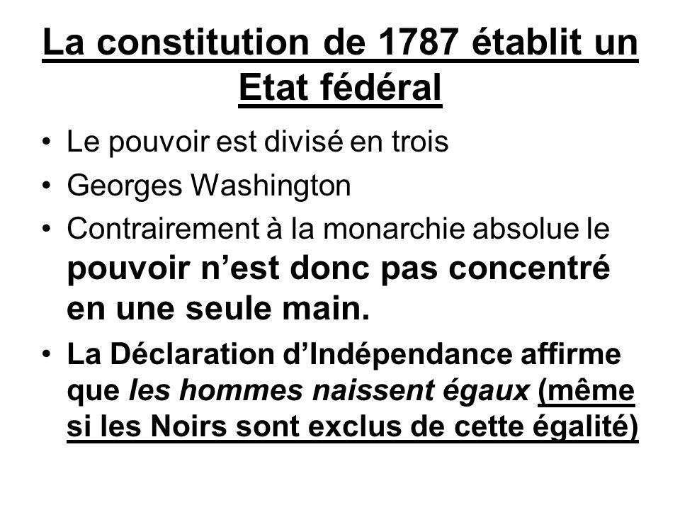 La constitution de 1787 établit un Etat fédéral Le pouvoir est divisé en trois Georges Washington Contrairement à la monarchie absolue le pouvoir n'es