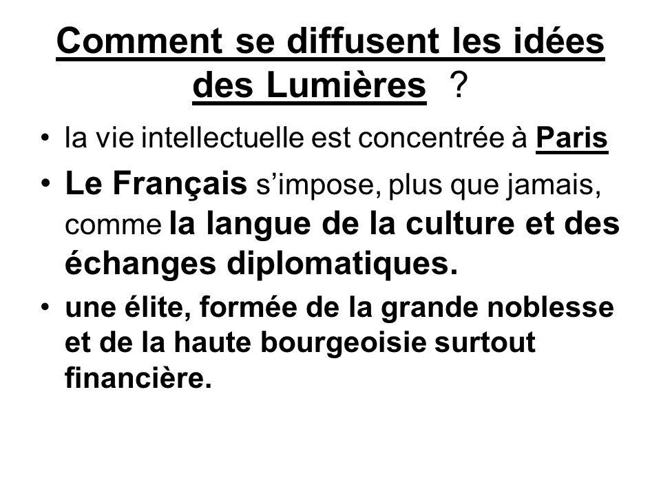Comment se diffusent les idées des Lumières ? la vie intellectuelle est concentrée à Paris Le Français s'impose, plus que jamais, comme la langue de l