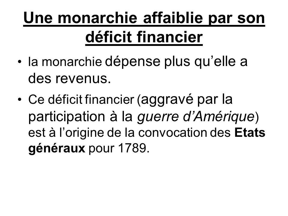 Une monarchie affaiblie par son déficit financier la monarchie dépense plus qu'elle a des revenus. Ce déficit financier ( aggravé par la participation