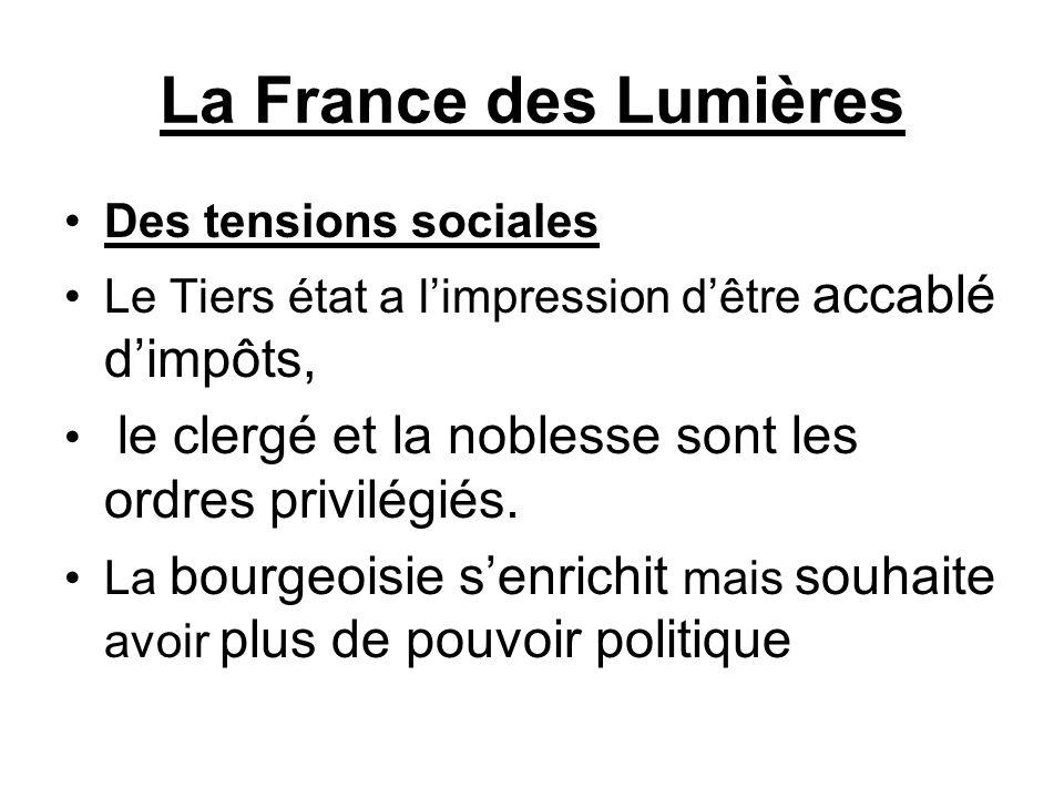 La France des Lumières Des tensions sociales Le Tiers état a l'impression d'être accablé d'impôts, le clergé et la noblesse sont les ordres privilégié