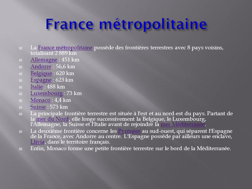  La France métropolitaine possède des frontières terrestres avec 8 pays voisins, totalisant 2 889 km France métropolitaine  Allemagne : 451 km Allem