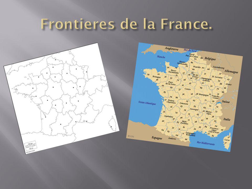 France métropolitaine se étend de la Mer Méditerranée à la Mer Manche et mer du Nord et les Alpes et le Rhin au Océan Atlantique.