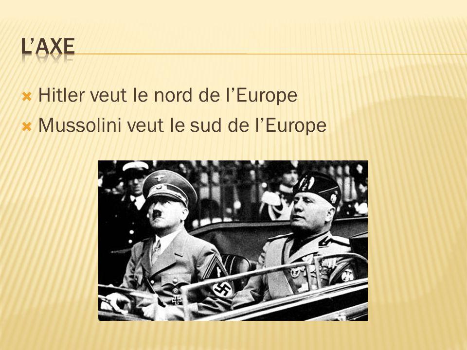  Hitler veut le nord de l'Europe  Mussolini veut le sud de l'Europe