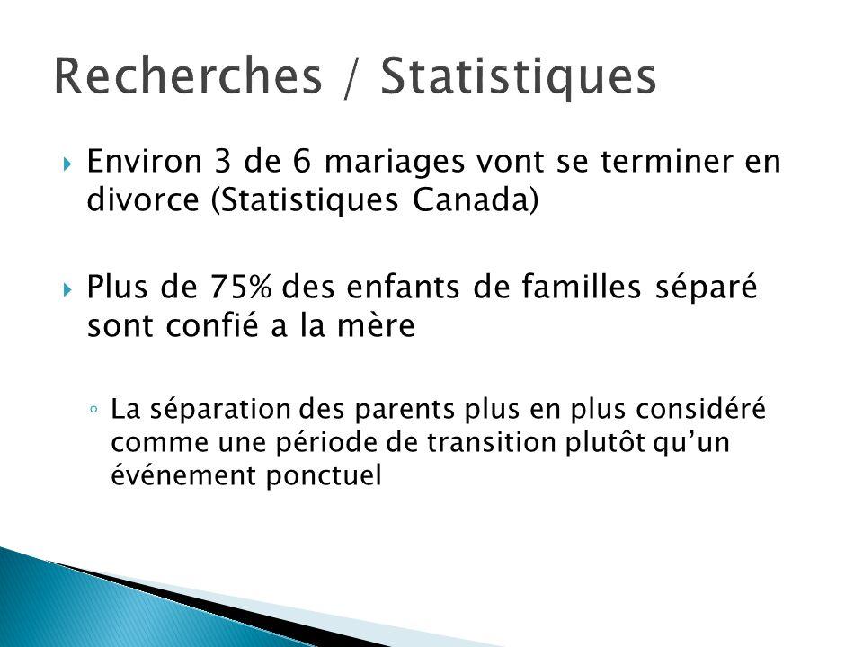  Environ 3 de 6 mariages vont se terminer en divorce (Statistiques Canada)  Plus de 75% des enfants de familles séparé sont confié a la mère ◦ La séparation des parents plus en plus considéré comme une période de transition plutôt qu'un événement ponctuel