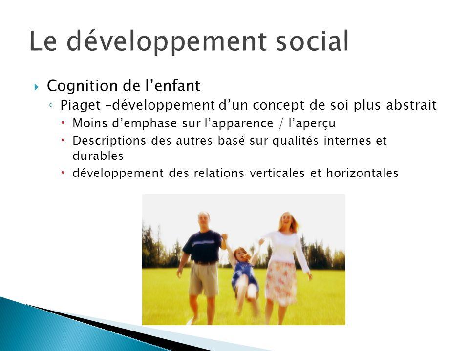  Cognition de l'enfant ◦ Piaget –développement d'un concept de soi plus abstrait  Moins d'emphase sur l'apparence / l'aperçu  Descriptions des autres basé sur qualités internes et durables  développement des relations verticales et horizontales