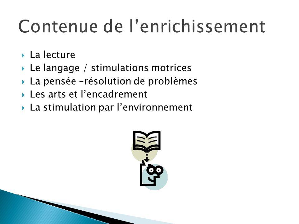  La lecture  Le langage / stimulations motrices  La pensée –résolution de problèmes  Les arts et l'encadrement  La stimulation par l'environnement