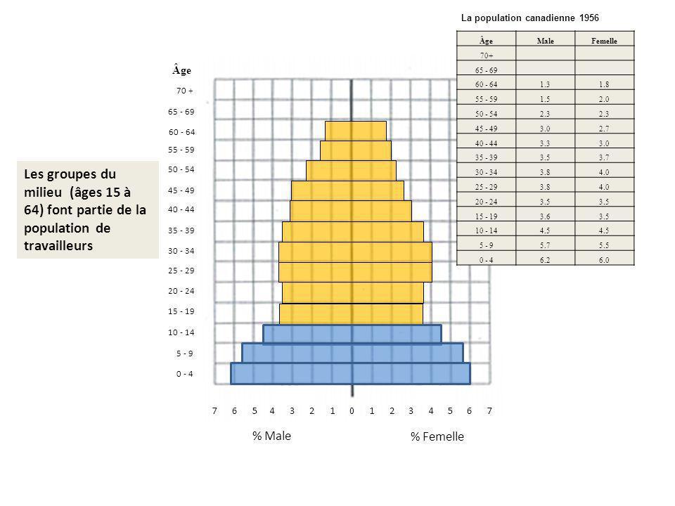 011342675657324 % Femelle % Male 0 - 4 70 + 10 - 14 5 - 9 15 - 19 20 - 24 65 - 69 60 - 64 55 - 59 50 - 54 45 - 49 40 - 44 35 - 39 30 - 34 25 - 29 Âge Male Femelle 70+ 65 - 69 60 - 64 1.3 1.8 55 - 59 1.5 2.0 50 - 54 2.3 2.3 45 - 49 3.0 2.7 40 - 44 3.3 3.0 35 - 39 3.5 3.7 30 - 34 3.8 4.0 25 - 29 3.8 4.0 20 - 24 3.5 3.5 15 - 19 3.6 3.5 10 - 14 4.5 4.5 5 - 9 5.7 5.5 0 - 4 6.2 6.0 Les groupes du milieu (âges 15 à 64) font partie de la population de travailleurs La population canadienne 1956 Âge