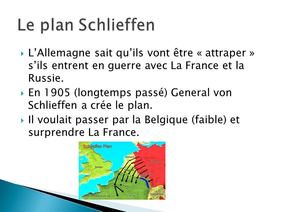  L'Allemagne sait qu'ils vont être « attraper » s'ils entrent en guerre avec La France et la Russie.