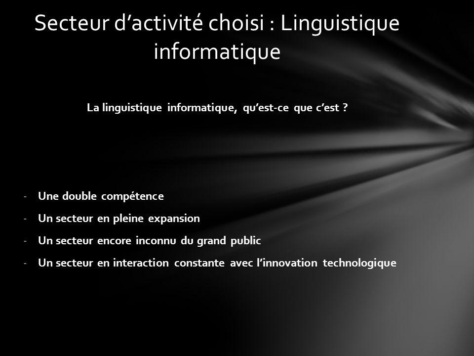 La linguistique informatique, qu'est-ce que c'est ? -Une double compétence -Un secteur en pleine expansion -Un secteur encore inconnu du grand public