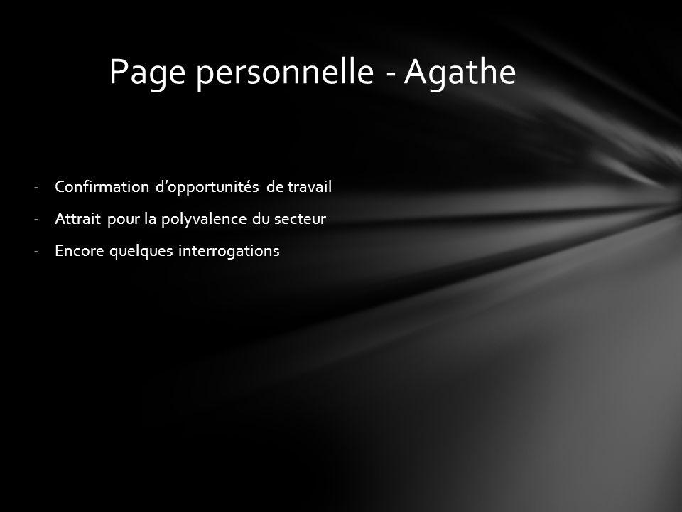 -Confirmation d'opportunités de travail -Attrait pour la polyvalence du secteur -Encore quelques interrogations Page personnelle - Agathe