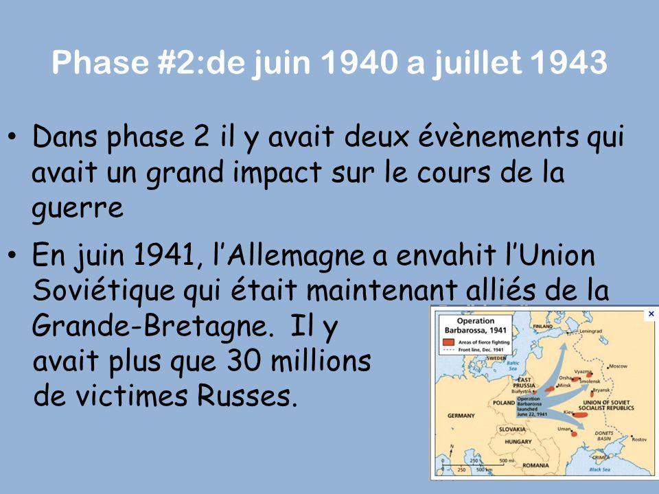 Phase #2:de juin 1940 a juillet 1943 Dans phase 2 il y avait deux évènements qui avait un grand impact sur le cours de la guerre En juin 1941, l'Allem