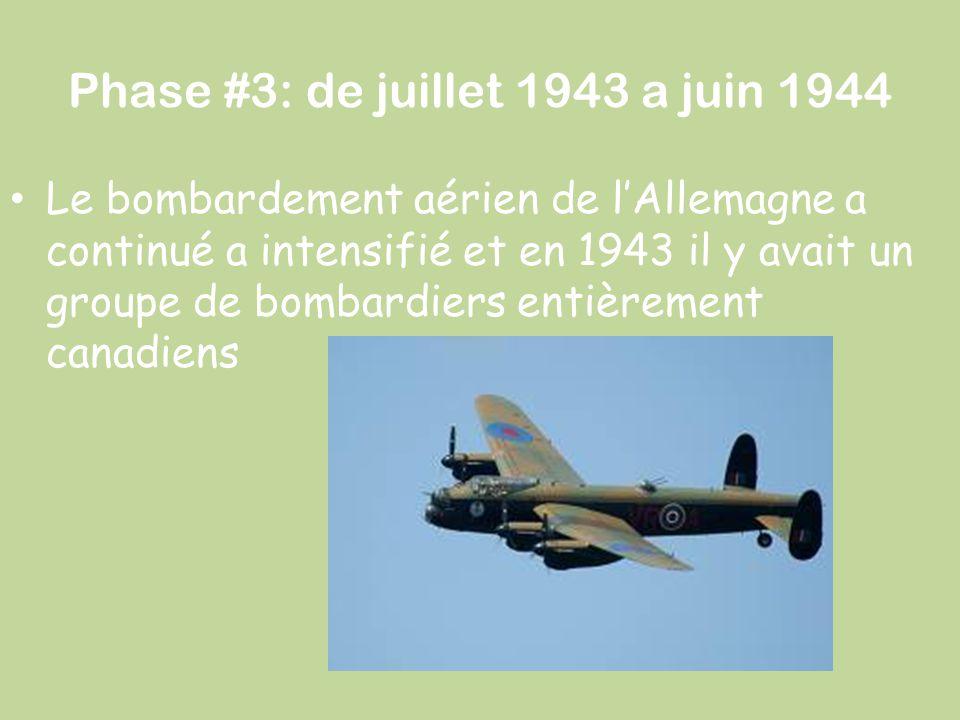 Phase #3: de juillet 1943 a juin 1944 Le bombardement aérien de l'Allemagne a continué a intensifié et en 1943 il y avait un groupe de bombardiers ent