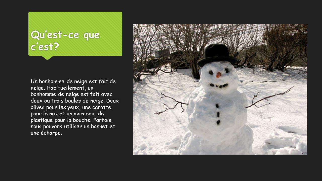Qu'est-ce que c'est? Un bonhomme de neige est fait de neige. Habituellement, un bonhomme de neige est fait avec deux ou trois boules de neige. Deux ol
