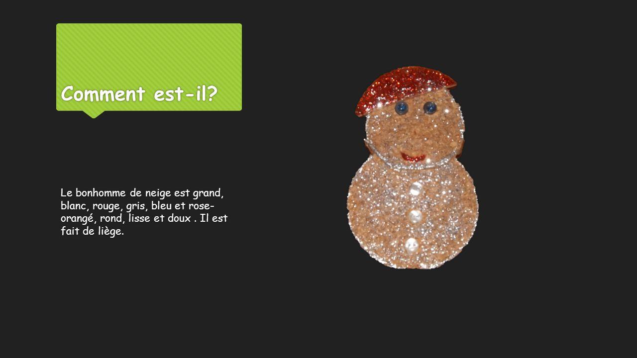 Comment est-il? Le bonhomme de neige est grand, blanc, rouge, gris, bleu et rose- orangé, rond, lisse et doux. Il est fait de liège.