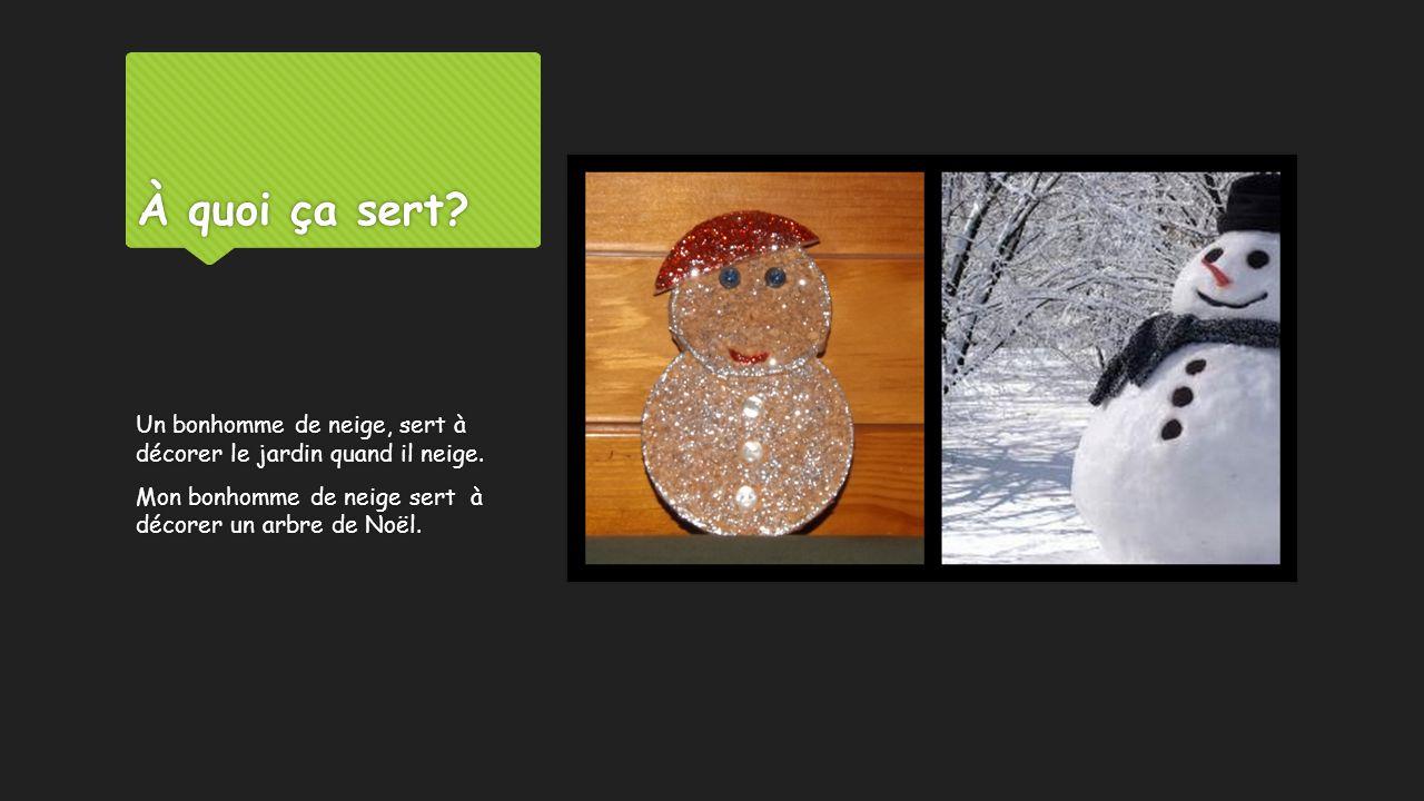 À quoi ça sert? Un bonhomme de neige, sert à décorer le jardin quand il neige. Mon bonhomme de neige sert à décorer un arbre de Noël.