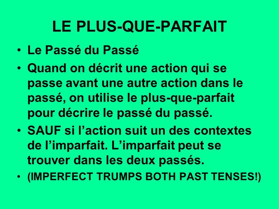 LE PLUS-QUE-PARFAIT Le Passé du Passé Quand on décrit une action qui se passe avant une autre action dans le passé, on utilise le plus-que-parfait pou