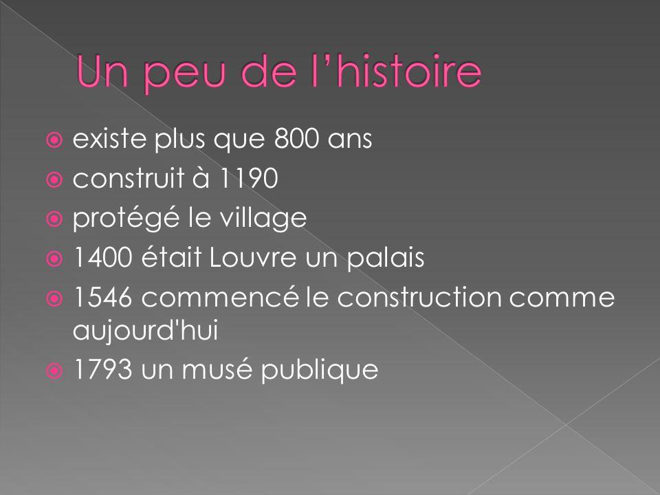  existe plus que 800 ans  construit à 1190  protégé le village  1400 était Louvre un palais  1546 commencé le construction comme aujourd hui  1793 un musé publique