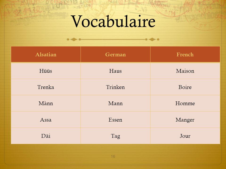 Vocabulaire 16 AlsatianGermanFrench HüüsHausMaison TrenkaTrinkenBoire MànnMannHomme AssaEssenManger DäiTagJour