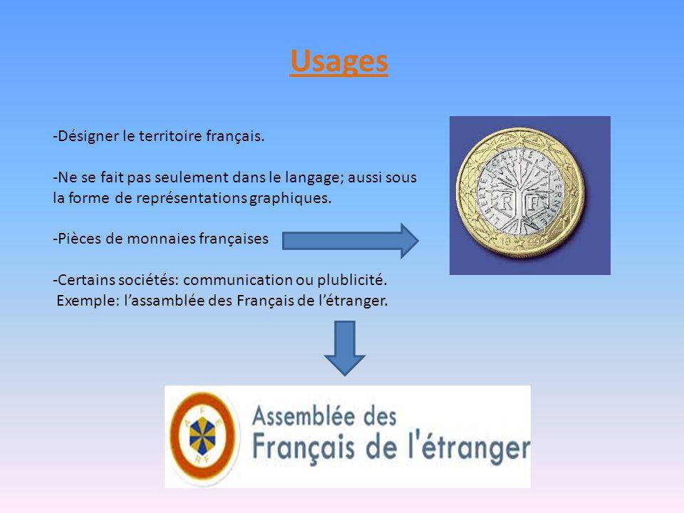 Usages -Désigner le territoire français. -Ne se fait pas seulement dans le langage; aussi sous la forme de représentations graphiques. -Pièces de monn