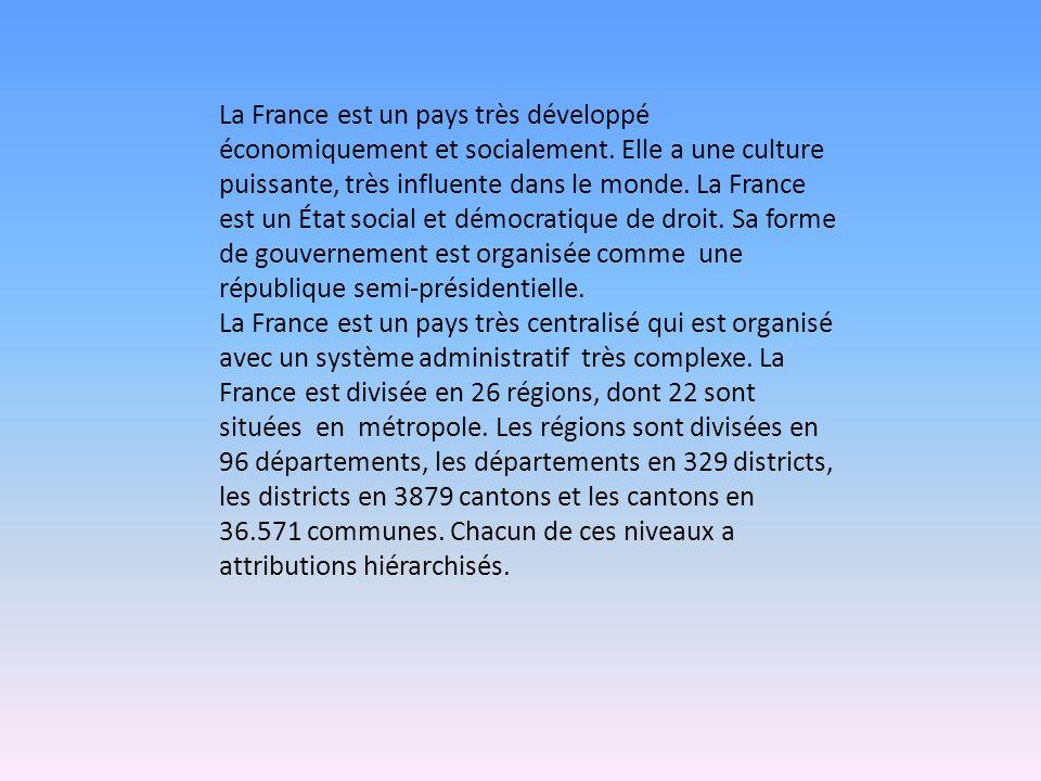 La France est un pays très développé économiquement et socialement. Elle a une culture puissante, très influente dans le monde. La France est un État