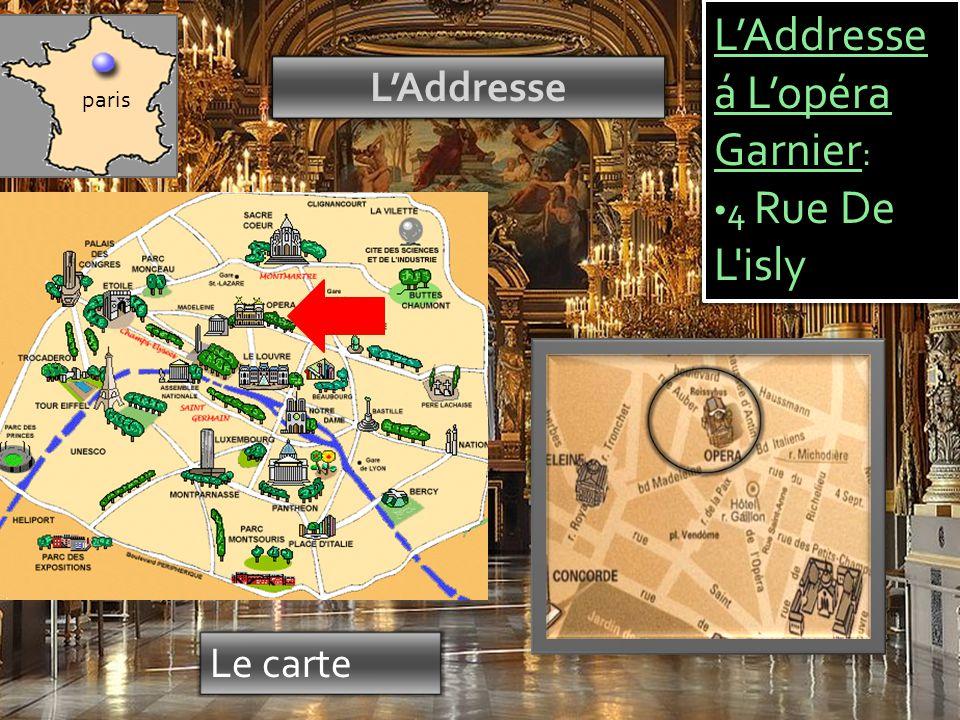 Chronologie L'Opéra Garnier est une idée 1669 1860 La Construction á commence 1875 La Construction a fini 1870 War 2000 Restored 2004 Grand Foyer Restored