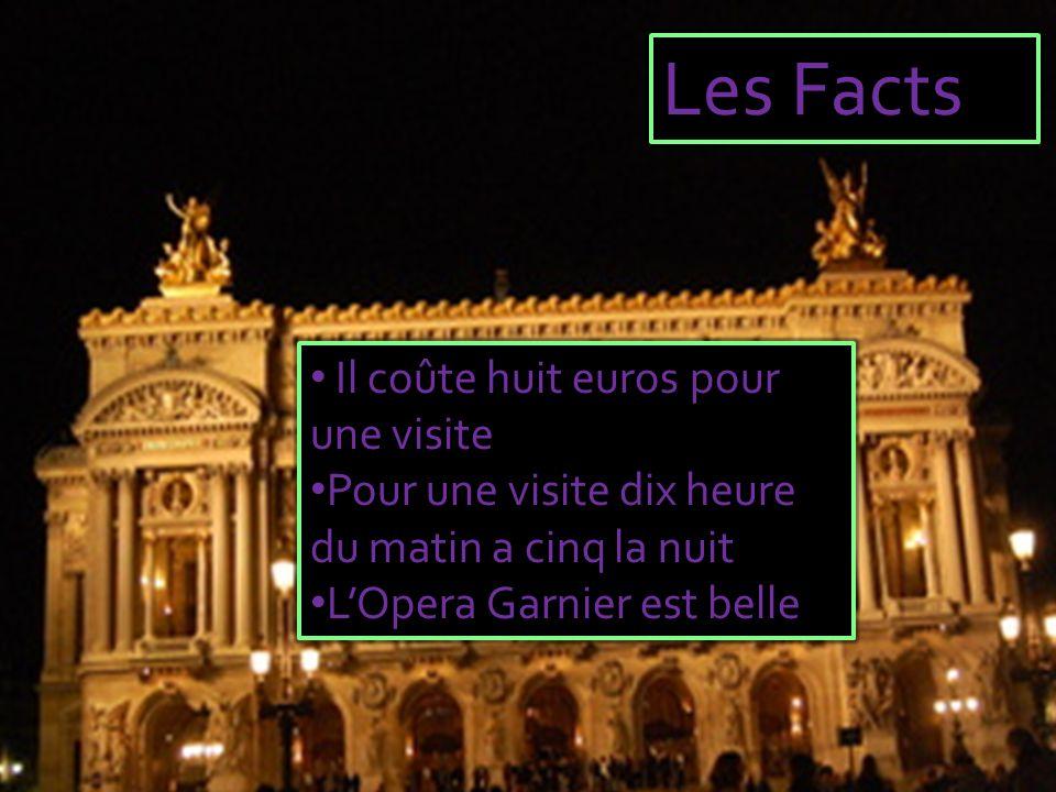 Les Facts Il coûte huit euros pour une visite Pour une visite dix heure du matin a cinq la nuit L'Opera Garnier est belle