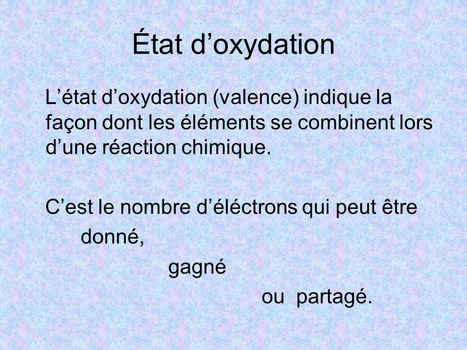 État d'oxydation L'état d'oxydation (valence) indique la façon dont les éléments se combinent lors d'une réaction chimique. C'est le nombre d'éléctron