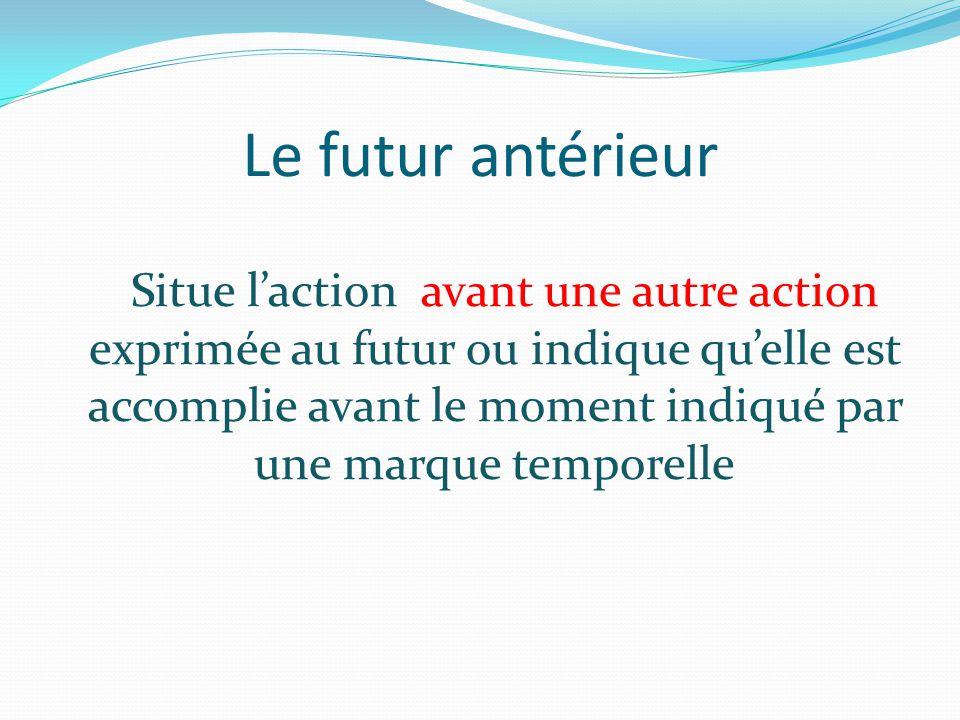 Le futur antérieur Situe l'action avant une autre action exprimée au futur ou indique qu'elle est accomplie avant le moment indiqué par une marque tem