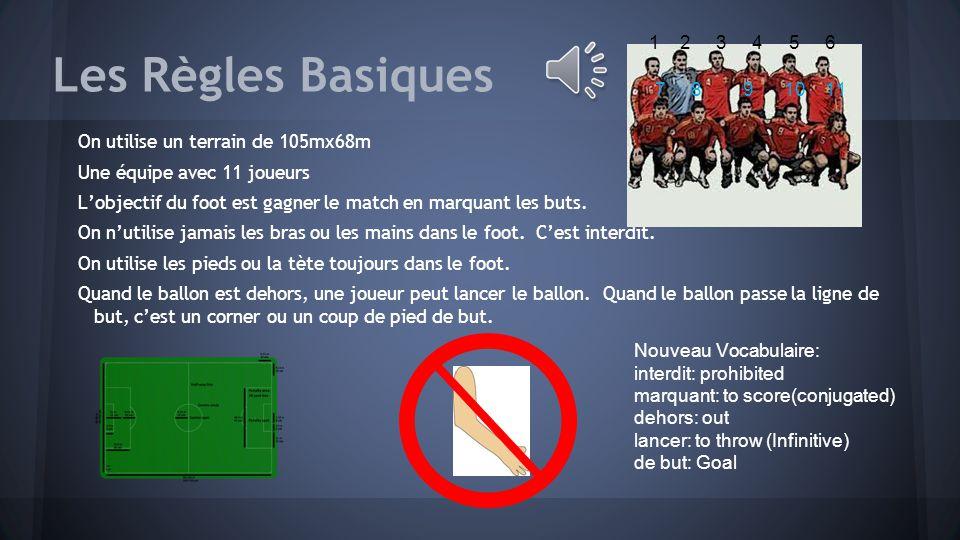Les Règles Basiques On utilise un terrain de 105mx68m Une équipe avec 11 joueurs L'objectif du foot est gagner le match en marquant les buts.