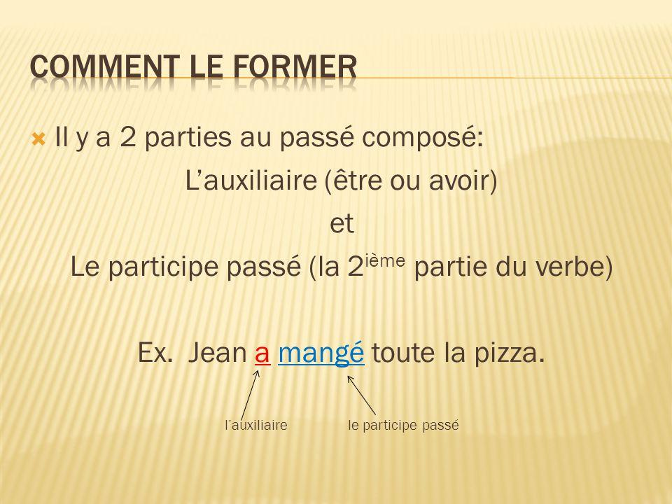  Il y a 2 parties au passé composé: L'auxiliaire (être ou avoir) et Le participe passé (la 2 ième partie du verbe) Ex. Jean a mangé toute la pizza. l