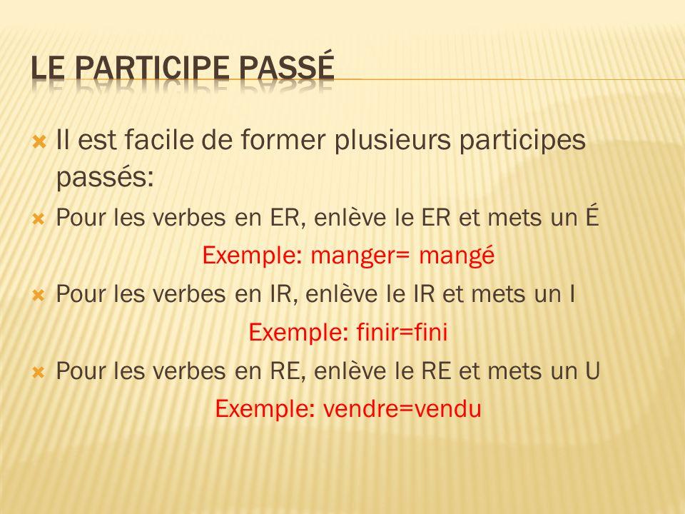  Il est facile de former plusieurs participes passés:  Pour les verbes en ER, enlève le ER et mets un É Exemple: manger= mangé  Pour les verbes en