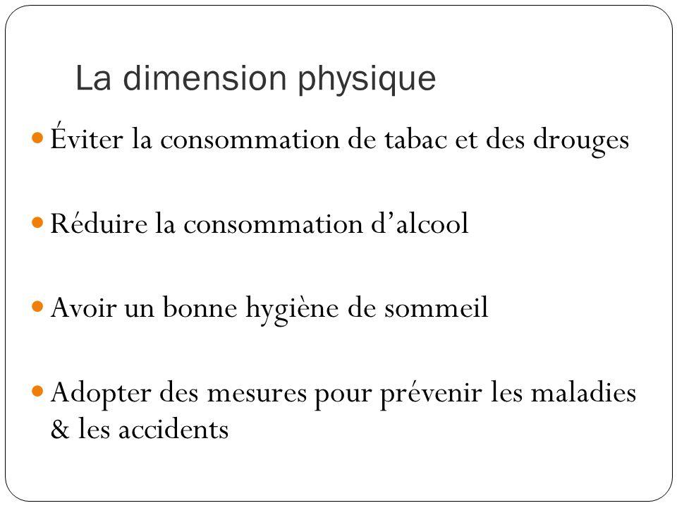 La dimension physique Éviter la consommation de tabac et des drouges Réduire la consommation d'alcool Avoir un bonne hygiène de sommeil Adopter des mesures pour prévenir les maladies & les accidents