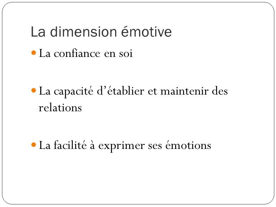 La dimension émotive La confiance en soi La capacité d'établier et maintenir des relations La facilité à exprimer ses émotions