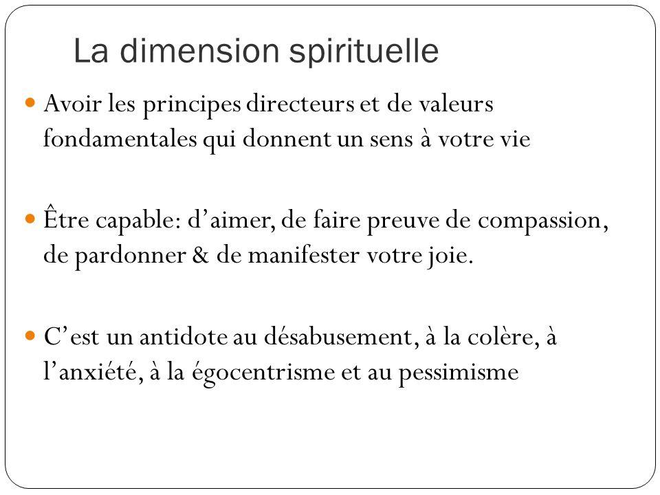 La dimension spirituelle Avoir les principes directeurs et de valeurs fondamentales qui donnent un sens à votre vie Être capable: d'aimer, de faire preuve de compassion, de pardonner & de manifester votre joie.