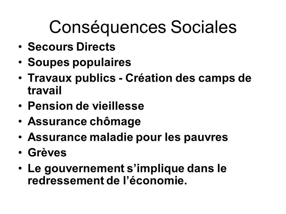 Conséquences Sociales Secours Directs Soupes populaires Travaux publics - Création des camps de travail Pension de vieillesse Assurance chômage Assura