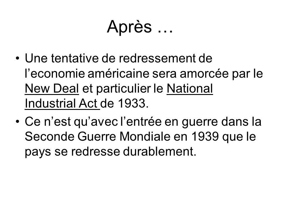 Après … Une tentative de redressement de l'economie américaine sera amorcée par le New Deal et particulier le National Industrial Act de 1933. Ce n'es