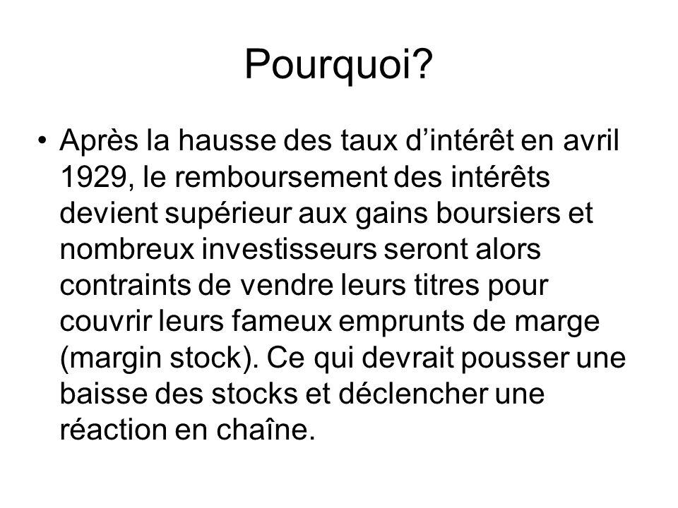 Pourquoi? Après la hausse des taux d'intérêt en avril 1929, le remboursement des intérêts devient supérieur aux gains boursiers et nombreux investisse