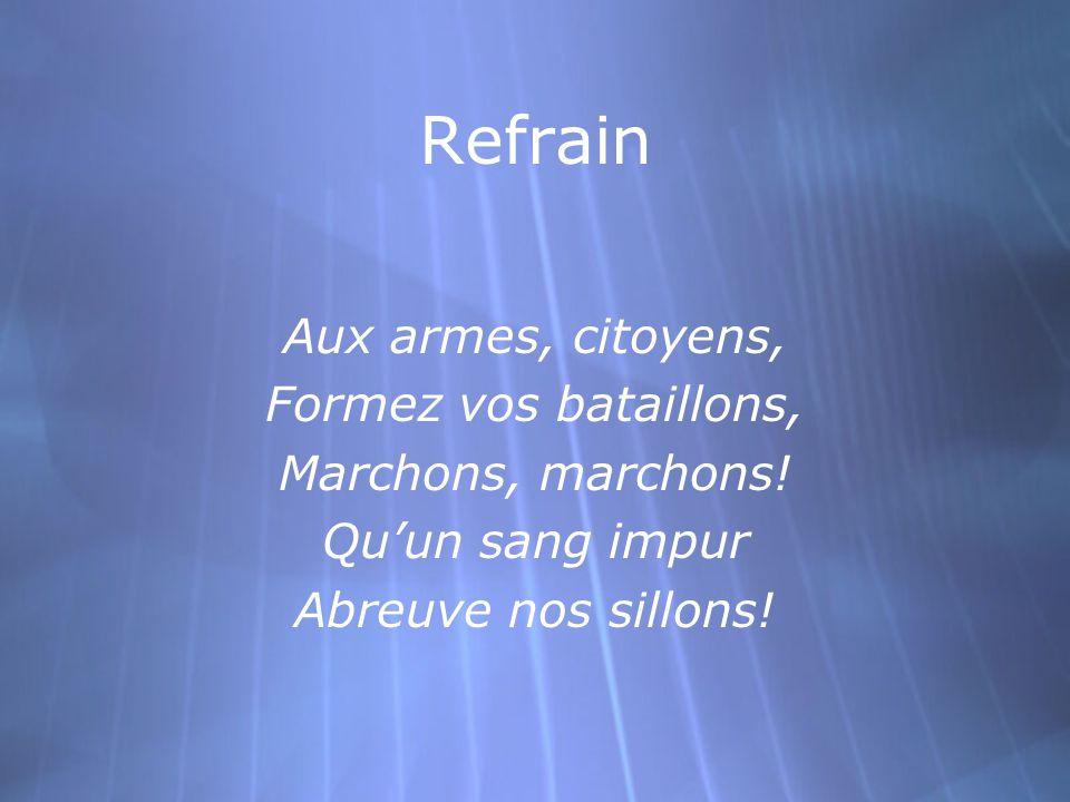 Refrain Aux armes, citoyens, Formez vos bataillons, Marchons, marchons.