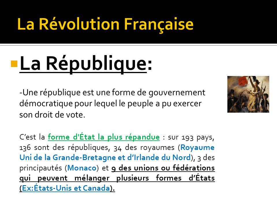  La République: -Une république est une forme de gouvernement démocratique pour lequel le peuple a pu exercer son droit de vote.