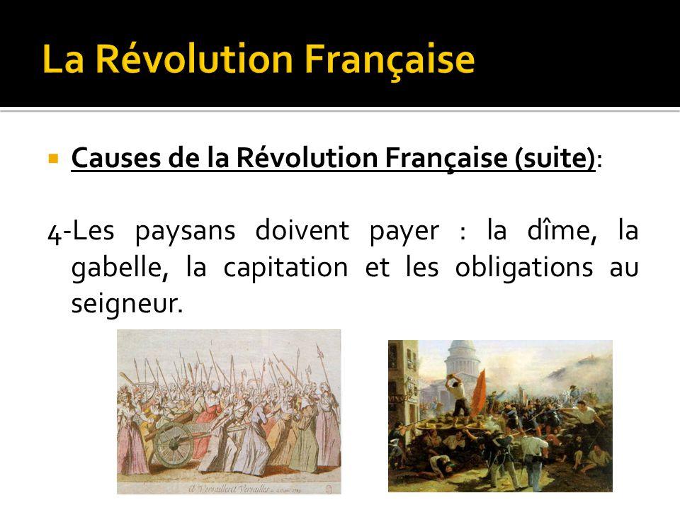  Causes de la Révolution Française (suite): 4-Les paysans doivent payer : la dîme, la gabelle, la capitation et les obligations au seigneur.