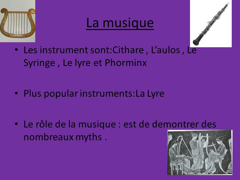La musique Les instrument sont:Cithare, L'aulos, Le Syringe, Le lyre et Phorminx Plus popular instruments:La Lyre Le rôle de la musique : est de demontrer des nombreaux myths.