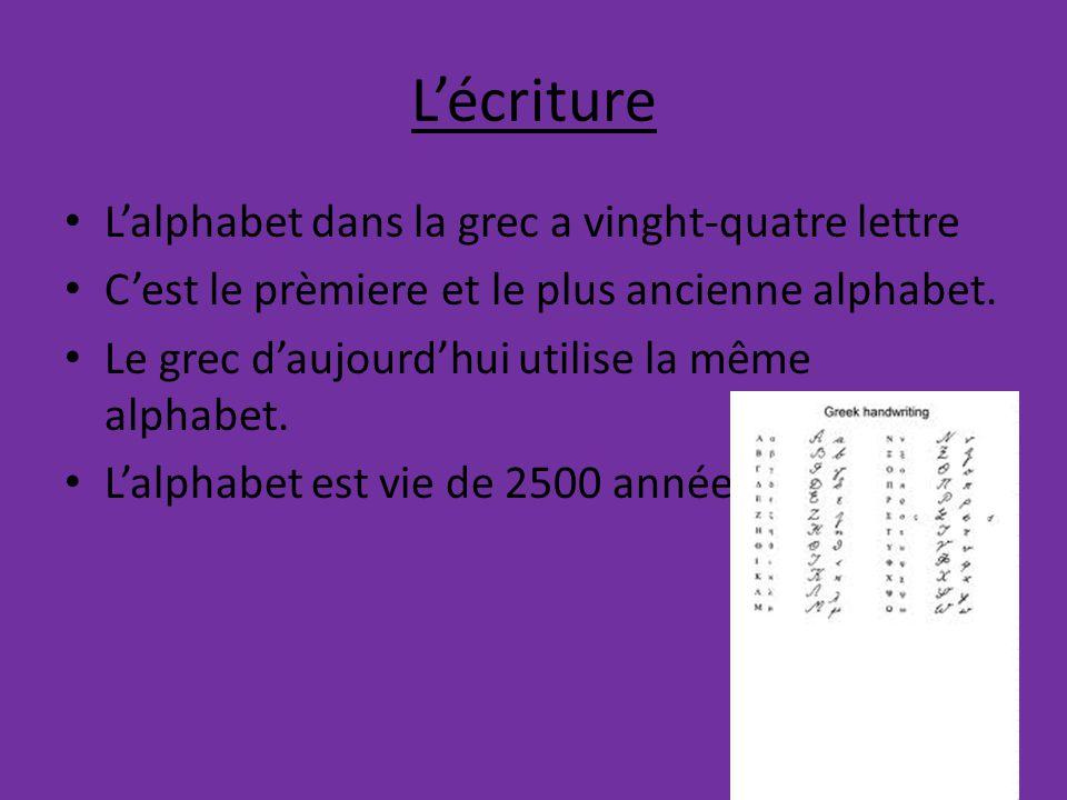 L'écriture L'alphabet dans la grec a vinght-quatre lettre C'est le prèmiere et le plus ancienne alphabet.