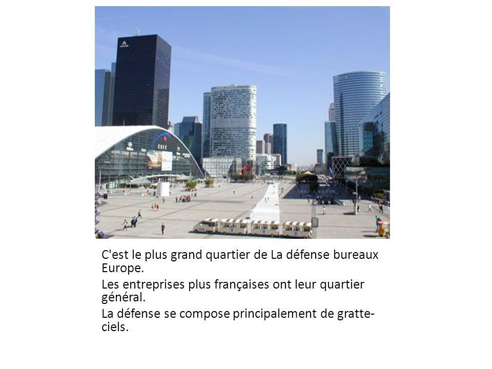 C'est le plus grand quartier de La défense bureaux Europe. Les entreprises plus françaises ont leur quartier général. La défense se compose principale