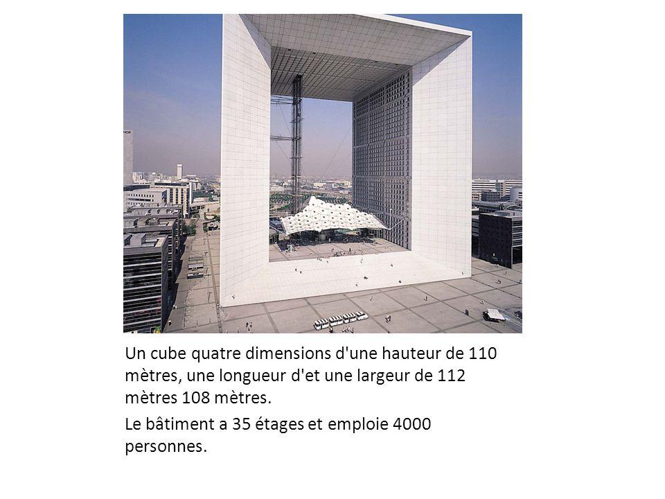 Un cube quatre dimensions d'une hauteur de 110 mètres, une longueur d'et une largeur de 112 mètres 108 mètres. Le bâtiment a 35 étages et emploie 4000
