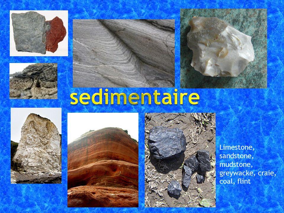 Limestone, sandstone, mudstone, greywacke, craie, coal, flint