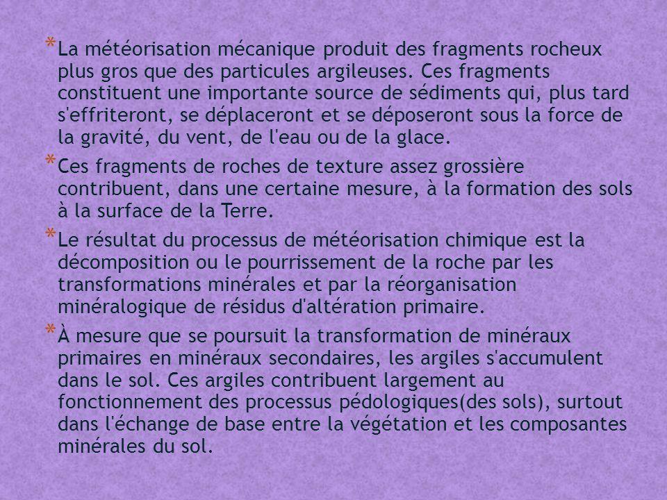 * La météorisation mécanique produit des fragments rocheux plus gros que des particules argileuses.